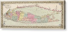 Antique Map Of Long Island By J.h. Colton And Co. - 1857 Acrylic Print by Blue Monocle