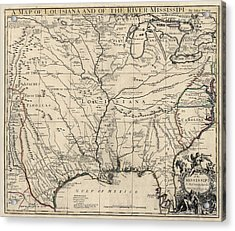 Antique Map Of Louisiana And The Mississippi River By John Senex - 1721 Acrylic Print by Blue Monocle