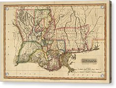Antique Map Of Louisiana By Fielding Lucas - Circa 1817 Acrylic Print by Blue Monocle