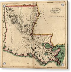 Antique Map Of Louisiana By Mathew Carey - 1814 Acrylic Print by Blue Monocle