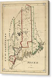 Antique Map Of Maine By A. T. Perkins - Circa 1820 Acrylic Print by Blue Monocle