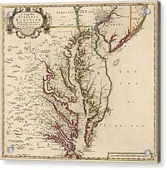 Antique Map Of Maryland And Virginia By John Senex - 1719 Acrylic Print by Blue Monocle