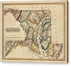 Antique Map Of Maryland By Fielding Lucas - Circa 1817 Acrylic Print by Blue Monocle