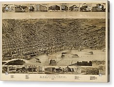 Antique Map Of Memphis Tennessee By H. Wellge - 1887 Acrylic Print by Blue Monocle