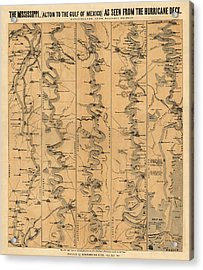 Antique Map Of Mississippi River By Schonberg And Co. - 1861 Acrylic Print by Blue Monocle