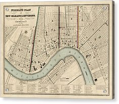 Antique Map Of New Orleans By Balduin Mollhausen - 1845 Acrylic Print by Blue Monocle