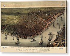 Antique Map Of New Orleans By Currier And Ives - Circa 1885 Acrylic Print by Blue Monocle