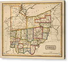 Antique Map Of Ohio By Fielding Lucas - Circa 1817 Acrylic Print by Blue Monocle