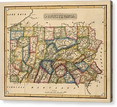 Antique Map Of Pennsylvania By Fielding Lucas - Circa 1817 Acrylic Print by Blue Monocle