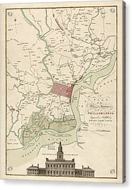 Antique Map Of Philadelphia By Matthaus Albrecht Lotter - 1777 Acrylic Print by Blue Monocle
