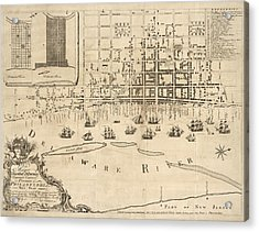 Antique Map Of Philadelphia By Nicholas Scull - 1762 Acrylic Print by Blue Monocle