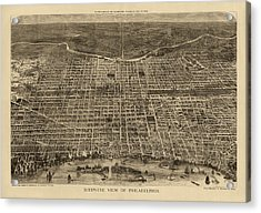Antique Map Of Philadelphia By Theodore R. Davis - 1872 Acrylic Print by Blue Monocle