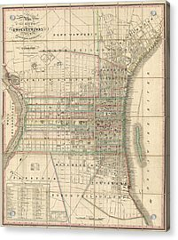 Antique Map Of Philadelphia By William Allen - 1830 Acrylic Print by Blue Monocle