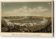 Antique Map Of Pittsburgh Pennsylvania By Otto Krebs - 1874 Acrylic Print by Blue Monocle