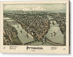 Antique Map Of Pittsburgh Pennsylvania By T. M. Fowler - 1902 Acrylic Print by Blue Monocle