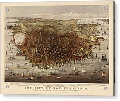 Antique Map Of San Francisco By Currier And Ives - Circa 1878 Acrylic Print by Blue Monocle
