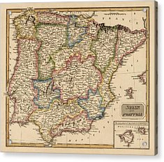 Antique Map Of Spain And Portugal By Fielding Lucas - Circa 1817 Acrylic Print by Blue Monocle