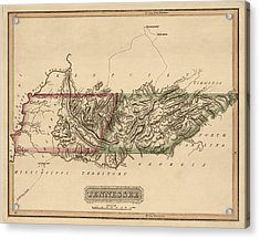 Antique Map Of Tennessee By Fielding Lucas - Circa 1817 Acrylic Print by Blue Monocle