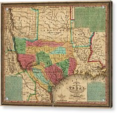 Antique Map Of Texas By James Hamilton Young - 1835 Acrylic Print by Blue Monocle