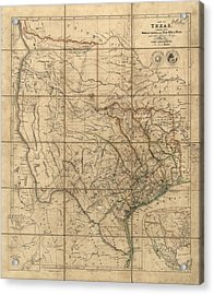 Antique Map Of Texas By John Arrowsmith - 1841 Acrylic Print by Blue Monocle