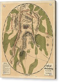 Antique Map Of The Battle Of Gettysburg By T. Ditterline - 1863 Acrylic Print by Blue Monocle