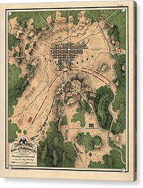 Antique Map Of The Battle Of Gettysburg By William H. Willcox - 1863 Acrylic Print by Blue Monocle