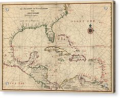 Antique Map Of The Caribbean And Central America By Joan Vinckeboons - Circa 1639 Acrylic Print by Blue Monocle