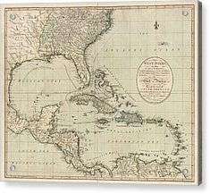 Antique Map Of The Caribbean And Central America By John Cary - 1783 Acrylic Print by Blue Monocle