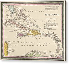 Antique Map Of The Caribbean By Samuel Augustus Mitchell - 1849 Acrylic Print by Blue Monocle