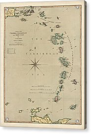 Antique Map Of The Caribbean - Lesser Antilles - By Mathew Richmond - 1789 Acrylic Print by Blue Monocle