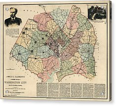 Antique Map Of Washington Dc By Andrew B. Graham - 1891 Acrylic Print by Blue Monocle