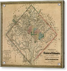 Antique Map Of Washington Dc By Colton And Co - 1862 Acrylic Print by Blue Monocle