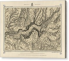 Antique Map Of Yosemite National Park By George M. Wheeler - Circa 1884 Acrylic Print by Blue Monocle