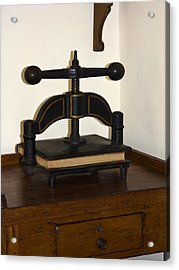 Antique Paper Copier Acrylic Print by Sally Weigand