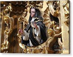 Antique Religious Figure Tlaxco Mexico Acrylic Print by Linda Queally