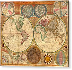 Antique World Map In Hemispheres 1794 Acrylic Print by Mountain Dreams