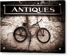 Antiques And The Old Bike Acrylic Print by Bob Orsillo