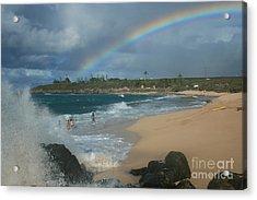 Anuenue - Aloha Mai E Hookipa Beach Maui Hawaii Acrylic Print by Sharon Mau