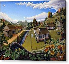 Appalachia Summer Farming Landscape - Appalachian Country Farm Life Scene - Rural Americana Acrylic Print by Walt Curlee
