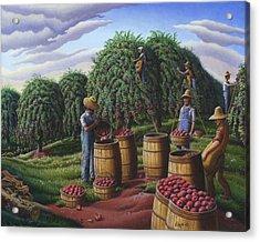 Apple Harvest - Autumn Farmers Orchard Farm Landscape - Folk Art Americana Acrylic Print by Walt Curlee