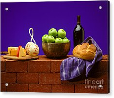 Apples Bread And Cheese Acrylic Print by Craig Lovell