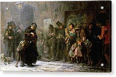 Applicants For Admission To A Casual Acrylic Print by Sir Samuel Luke Fildes