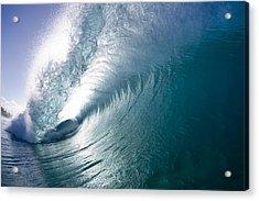 Aqua Curl Acrylic Print by Sean Davey