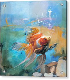 Aqua Gold Acrylic Print by Catf