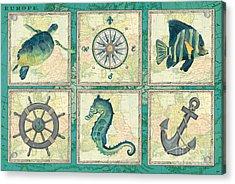 Aqua Maritime Patch Acrylic Print by Debbie DeWitt