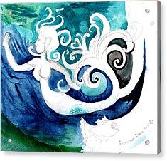 Aqua Mermaid Acrylic Print by Genevieve Esson