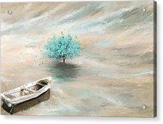 Aqua Tree Of Life Acrylic Print by Lourry Legarde