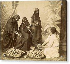 Arab Women Buying Fruit Acrylic Print by Underwood Archives