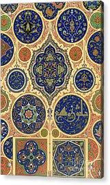 Arabian Decoration Plate Xxvii From Polychrome Ornament Acrylic Print by Albert Charles August Racinet