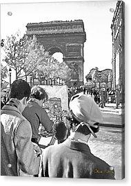 Arc De Triomphe Painter - B W Acrylic Print by Chuck Staley